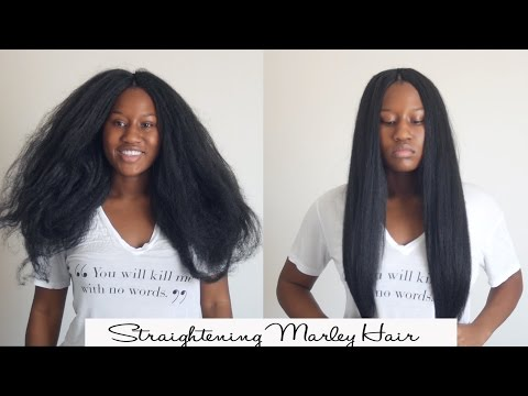 How to FLAT IRON Marley synthetic braiding hair.