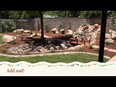 Pondless waterfall and stream with backyard makeover