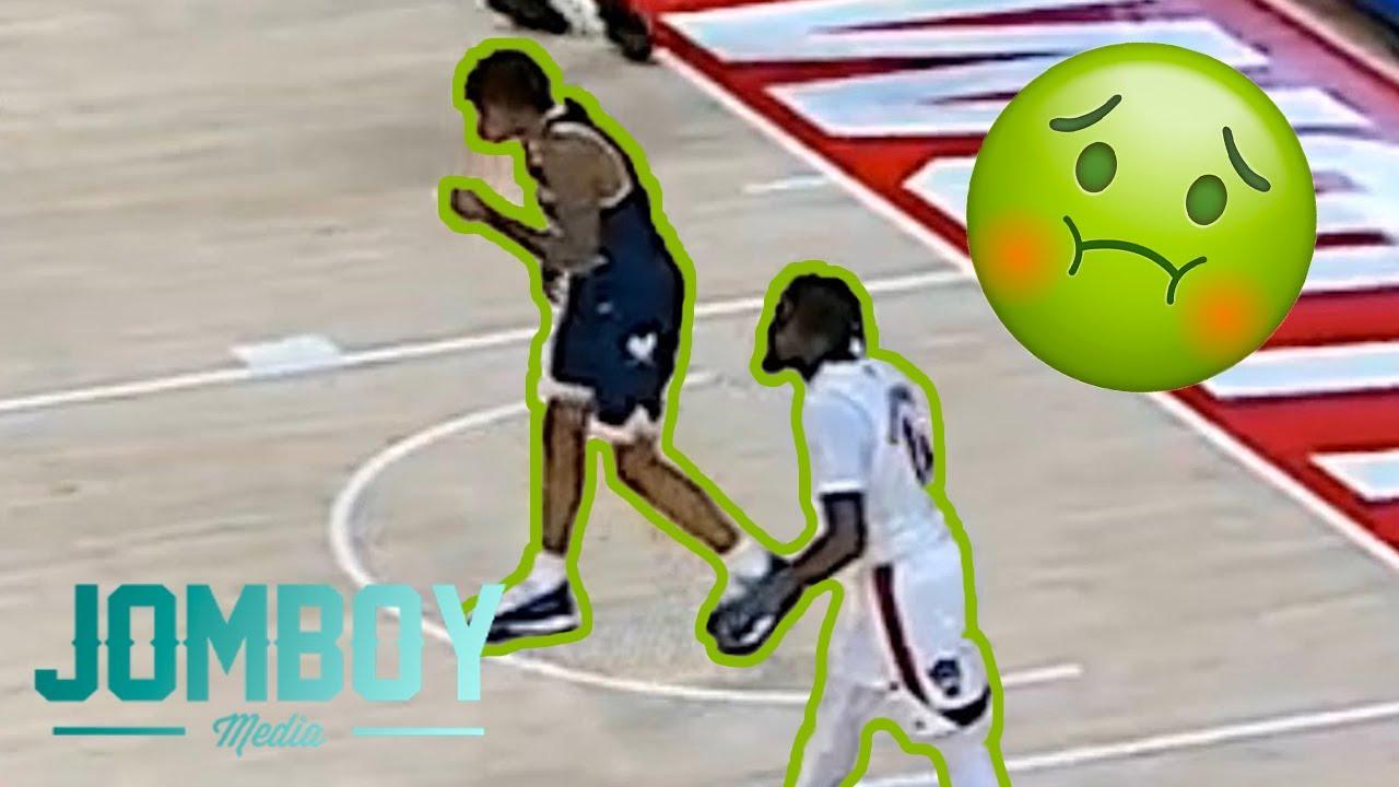 Basketball player pukes on opponent, a breakdown