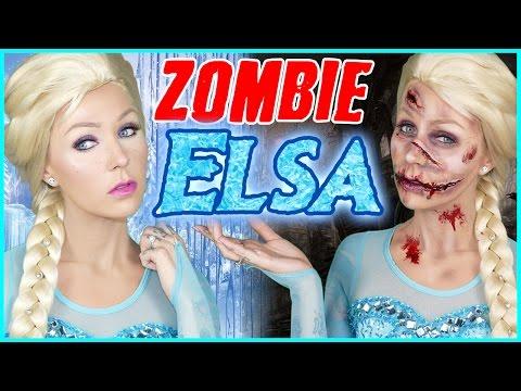 Zombie Elsa VS Queen Elsa Halloween Makeup Tutorial!