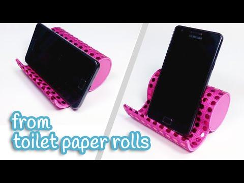 DIY crafts: PHONE HOLDER from toilet paper rolls - Innova Crafts