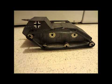 Homemade cardboard Tank battery operated rubber band driven (my 2nd tank build).