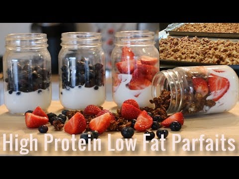 Healthy Breakfast Or Snack - High Protein Low Fat Parfait with 2 Homemade Granola Recipes