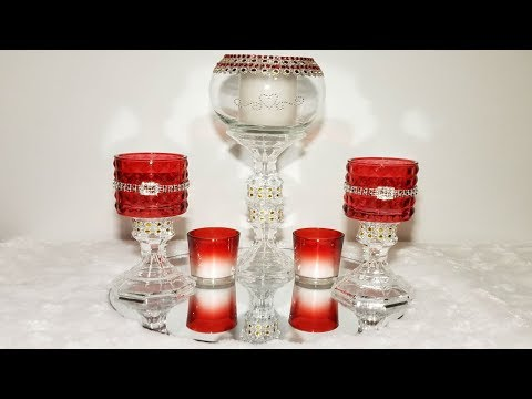 Red decorative glass candleholder centerpiece / xmas decor / valentines day decor