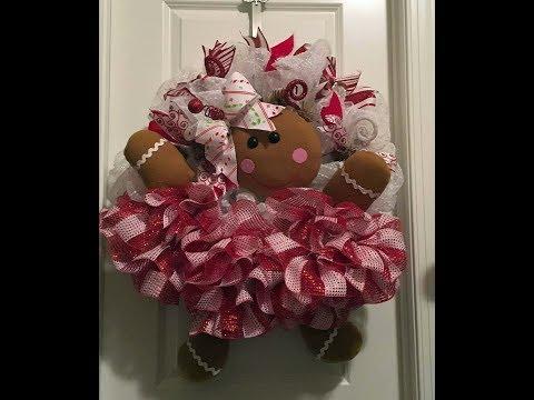 How to make an adorable deco mesh Gingerbread girl for Christmas