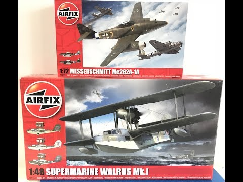 a quick look at Airfix 1/48 Walrus and 1/72 ME 262