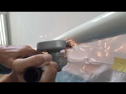 Angle Grinder Cutting Stairs handrail in Slow motion