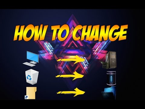 How to change My pc, Recycle bin, Folder icon windows 10