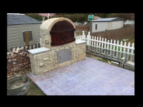 DIY Building BBQ, Smoker, Roaster and stamped concrete patio