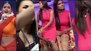 Anchor Dhivyadharshini Hot Navel In Transparent Saree HD