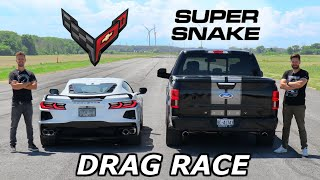 2020 C8 Corvette vs 770HP Shelby F-150 Super Snake // DRAG AND ROLL RACE