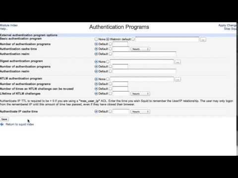 Install and configure squid proxy server via webmin
