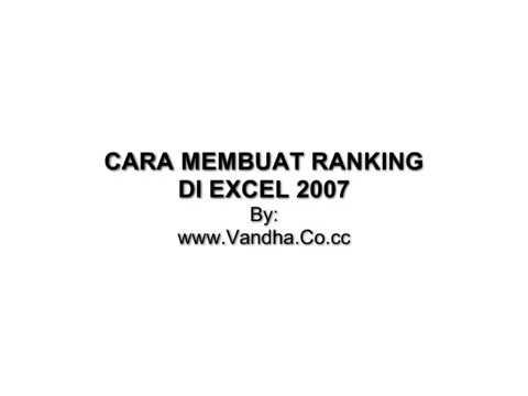 BUAT RANKING DI EXCEL 2007.mp4