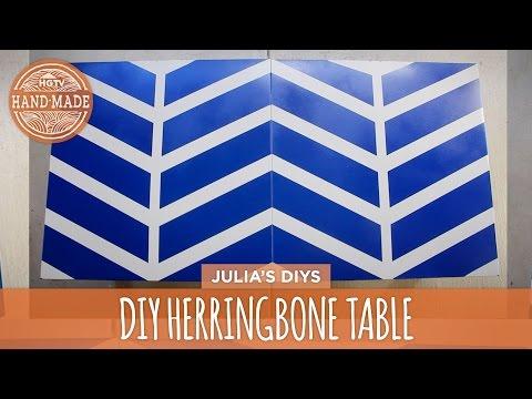 DIY Painted Herringbone Table - HGTV Handmade
