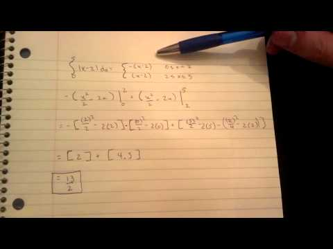 How to evaluate the definite integral of abs(x-2)dx from 0 to 5