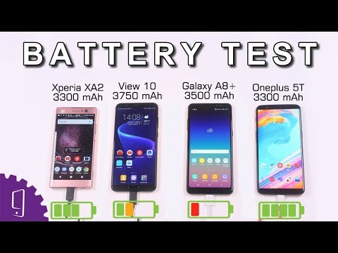 Xperia XA2 vs Honor View 10 vs Galaxy A8+ 2018 vs Oneplus 5T Battery Test | Battery Drain Out