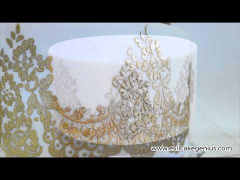 Evil Cake Genius - Mantilla Lace Cake Stencil