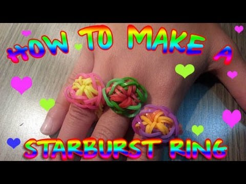 Rainbow Loom - How to make a simple star burst ring