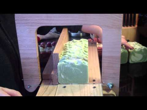 Cutting Green Apple Cold Process Soap
