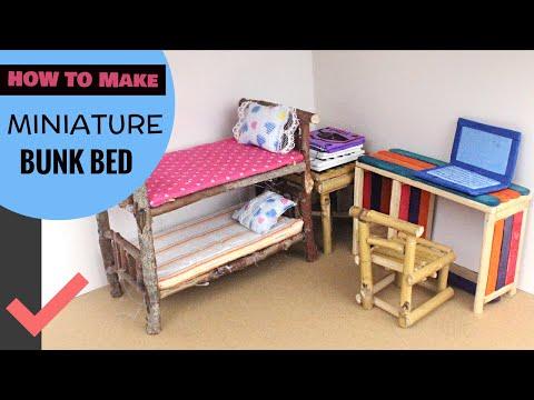 DIY Dollhouse Bedroom | Miniature Bunk Bed & Popsicle Sticks Crafts