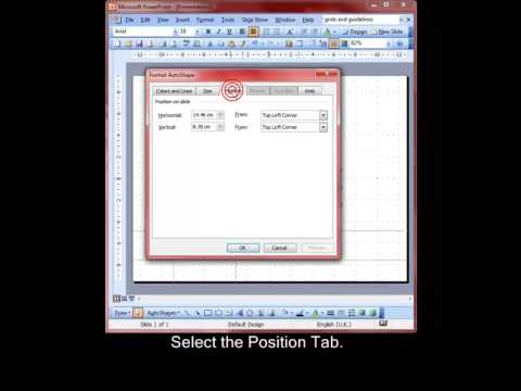 AM 6.3.3.2 Position objects to exact coordinates PowerPoint 2003