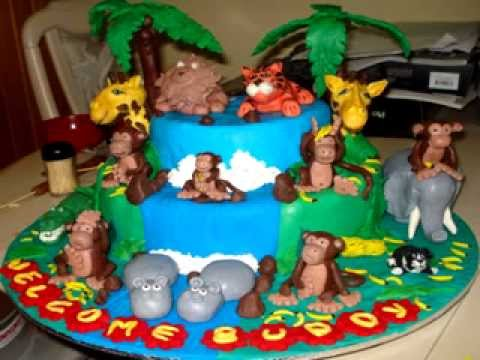 Jungle Themed Baby Shower Fondant Cake For Buddy