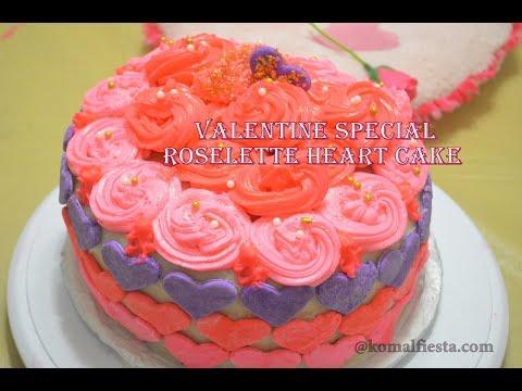 How to make Valentine roselette heart cake || easy marshmallows Fondant cake| simple cake decoration