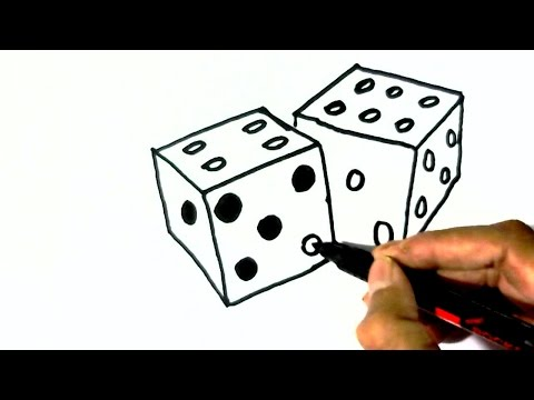 How to draw Dice- in easy steps for children. beginners