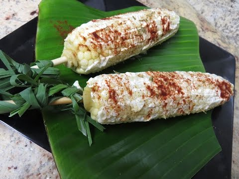 Corn on a cob, Mexican style with Asian fusion
