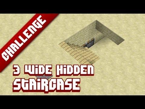 Minecraft Challenge: 3 Wide hidden staircase