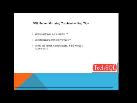 SQL Server Mirroring Troubleshooting