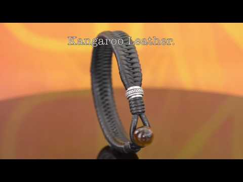 B-161 HOW TO BUY Sterling Silver, Kangaroo Leather & Red Tigers Eye Wristband Men Bracelet