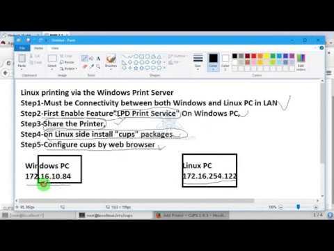 Linux printing via the Windows Print Server testing in Virtual Machine