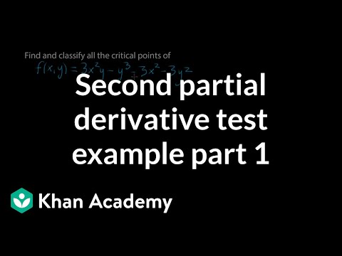 Second partial derivative test example, part 1