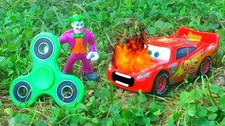 Disney Pixar Cars Lightning McQueen Attacked by Careless Joker Fidget Spinner Huge Crash Causes Fire