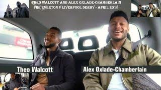 THEO WALCOTT AND ALEX OXLADE CHAMBERLAIN - IN A TAXI - PRE THE EVERTON V LIVERPOOL DERBY–APRIL 2018