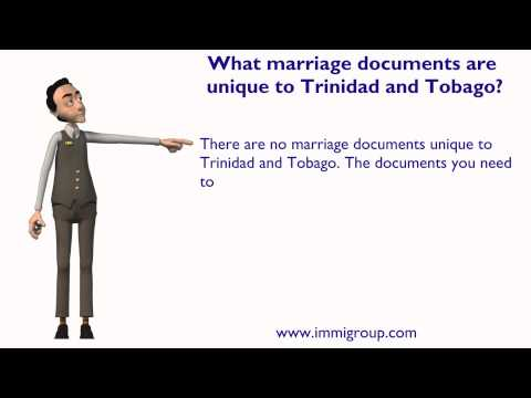 What marriage documents are unique to Trinidad and Tobago?