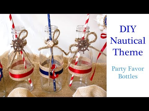 DIY Easy Nautical/Sailor/Beach Theme Party Favor- Glass Message Bottles