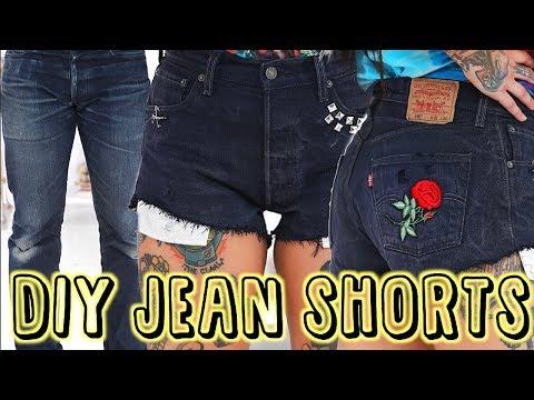 DIY JEAN SHORTS - NO SEW - TURN OLD PANTS INTO SUMMER SHORTS - GRUNGE LOOK | Bailey Sarian