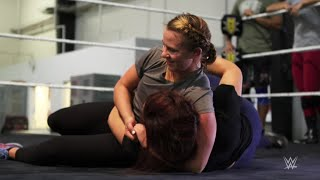 Olympic gold medal wrestler Erica Wiebe trains at the WWE Performance Center