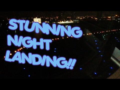 STUNNING NIGHT LANDING AT LONDON CITY AIRPORT | Lufthansa Embraer E190