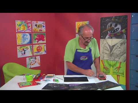 Learn to draw aliens traveling in outer space on Hands On Crafts for Kids with Franz Spohn (1910-3)