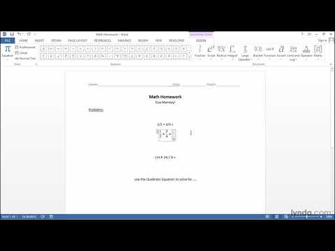 Microsoft Office tutorial: Writing math equations | lynda.com