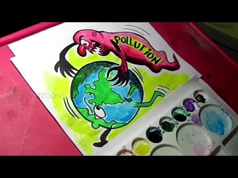 How to Draw Stop Pollution poster Drawing for Kids