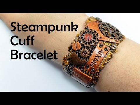 Steampunk cuff bracelet - polymer clay TUTORIAL