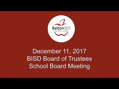 Belton ISD School Board Meeting 11 December 2017