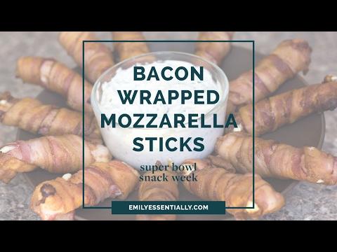 Bacon Wrapped Mozzarella Sticks | Super Bowl Snack Week | Emily Essentially