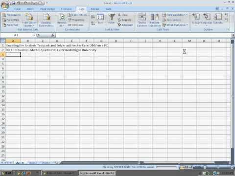 Enabling Solver and Data Analysis Add-Ins in Excel 2007