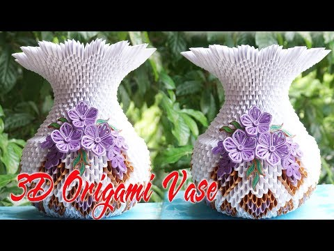 How To Make 3D Origami Flower Vase V1 | Flor de  origami 3d florero