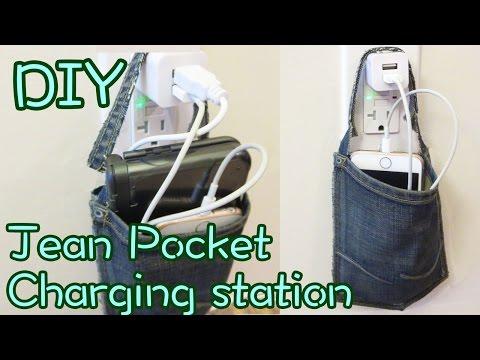 Jean Pocket Charging Station DIY [No Sew] | Sunny DIY